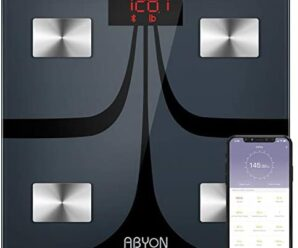 ABYON Bluetooth Smart Bathroom Scales for Body Weight Digital Body Fat Scale,Auto Monitor Body Weight,Fat,BMI,Water, BMR, Muscle Mass with Smartphone APP,Fitness Weight Loss Track Health Scale